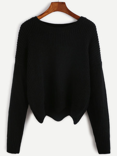 Black Seam Wave Hem Sweater