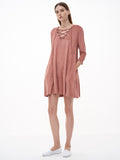 Pink Lace Up Suede Shift Dress