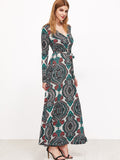 Green Tribal Print Long Sleeve Self Tie Dress