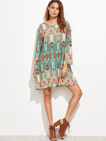 Green Tribal Print Round Neck Shift Dress