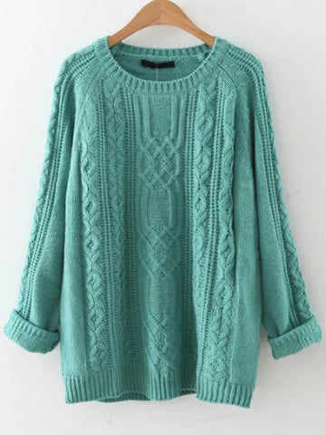 Blue Cable Knit Raglan Winter Sweater