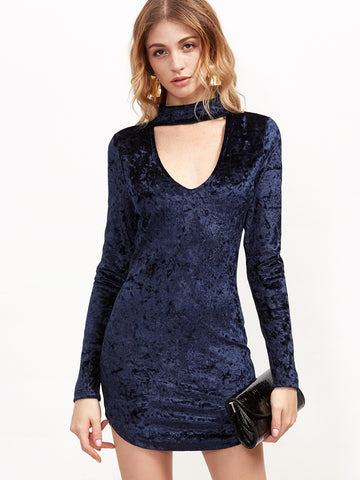Navy Cutout Choker Velvet Bodycon Dress - Crystalline