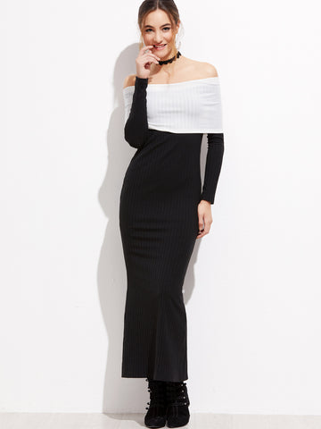 Black Foldover Off Shoulder Dress - Crystalline