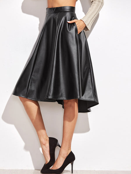 Black Faux Leather Paneled Skirt
