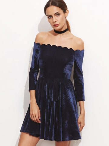 Navy Scallop Off The Shoulder Velvet Dress - Crystalline
