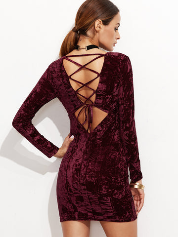 Burgundy Lace Up Back Velvet Bodycon Dress - Crystalline