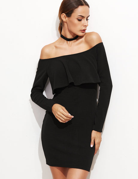 Black Ruffle Off Shoulder Bodycon Dress