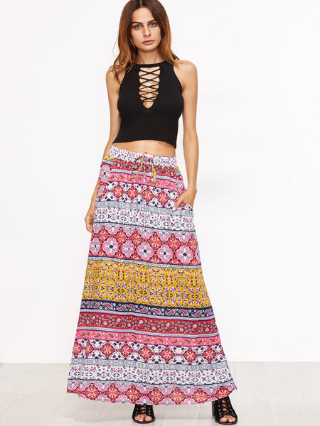 Pink Tribal Print Drawstring Skirt