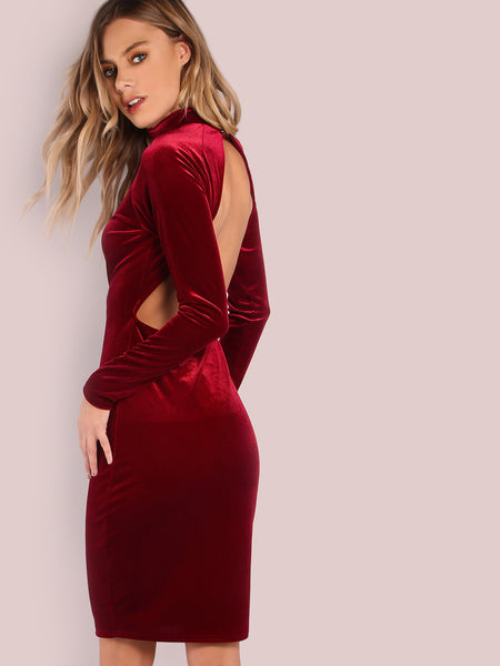 Burgundy Backless Velvet Mini Dress