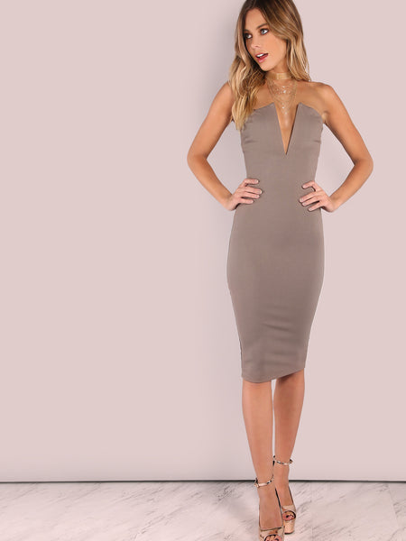Grey Plunging Bust Bodycon Dress