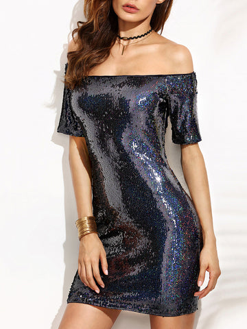 Black Iridescent Off The Shoulder Sequin Bodycon Dress - Crystalline