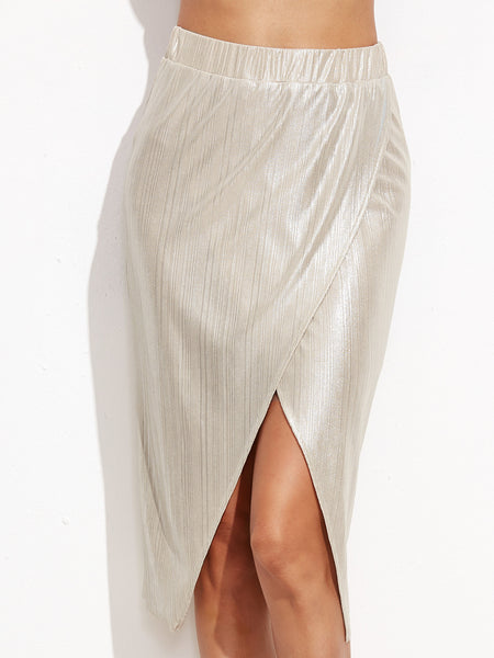 Metallic Silver Asymmetrical Skirt