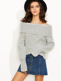 Grey Fold Over Off The Shoulder Slit Sweater - Crystalline