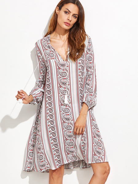 Multicolor Tribal Print V Neck Fringe Detail Dress