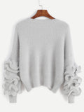 Grey Ruffle Trim Drop Shoulder Sweater