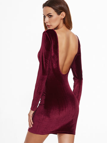 Burgundy Open Back Velvet Bodycon Dress - Crystalline