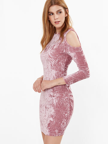 Pink Cold Shoulder Crushed Velvet Bodycon Dress - Crystalline