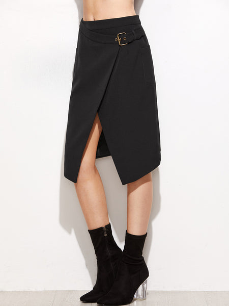 Black Overlap Belted Skirt