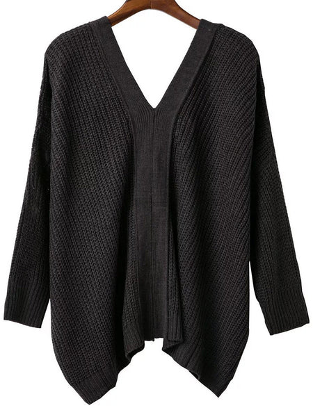Dark Grey V Neck Drop Shoulder Sweater