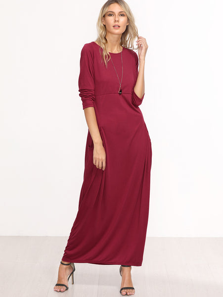 Burgundy Casual Long Sleeve Maxi Dress