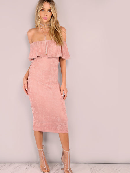 Pink Faux Suede Off The Shoulder Ruffle Dress - Crystalline