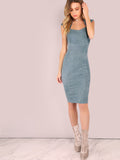 Blue Suede Pencil Cut Midi Dress