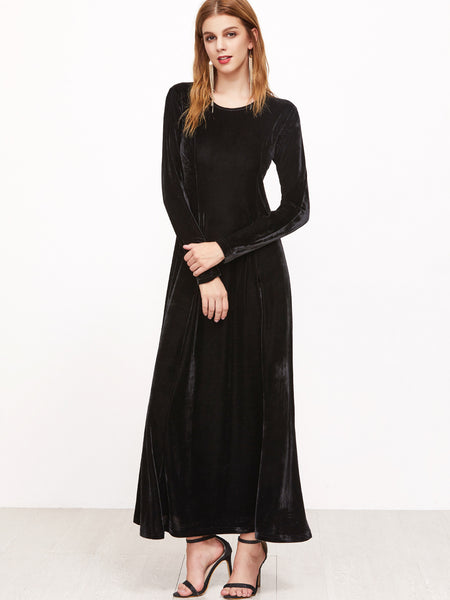 Black Round Neck Long Sleeve A Line Velvet Dress