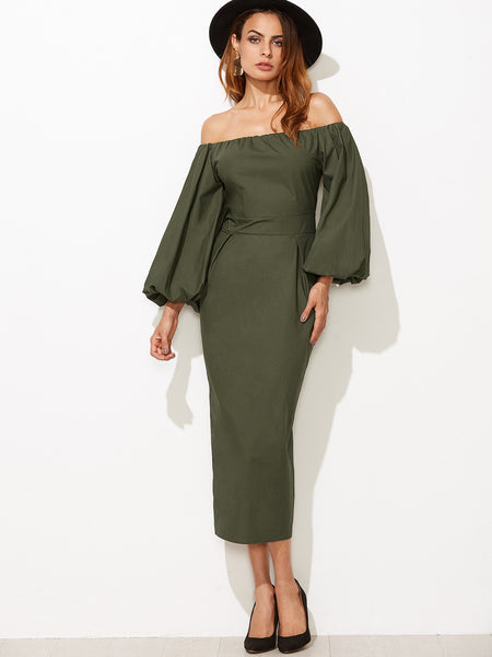 Green Off Shoulder Lantern Sleeve Pencil Dress