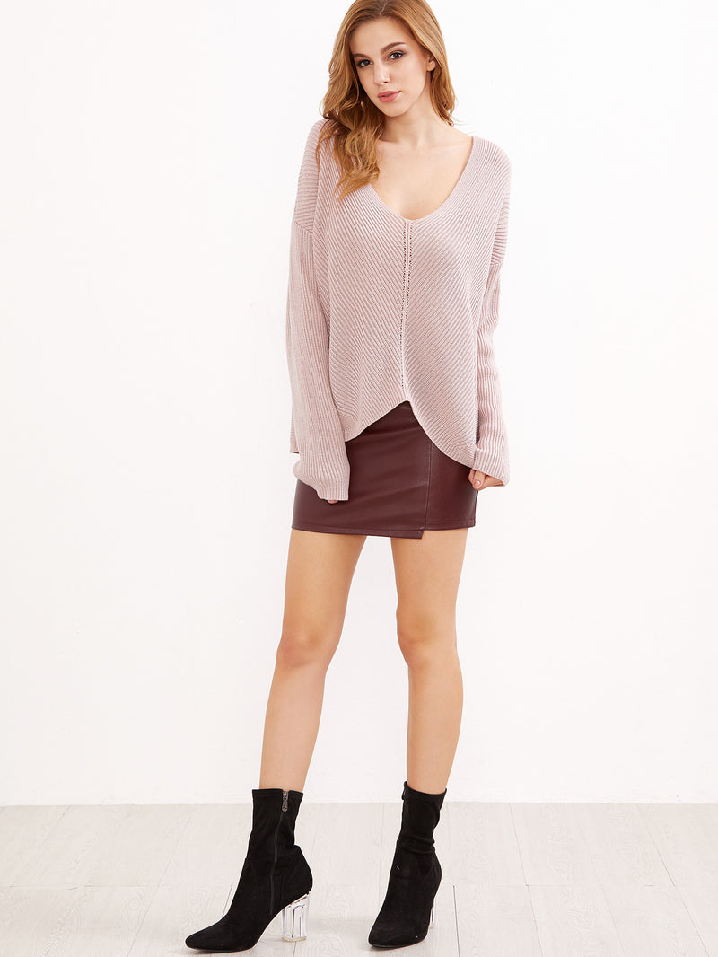 Sweater Pink Fall V Neck Light Soft Sweater - Crystalline