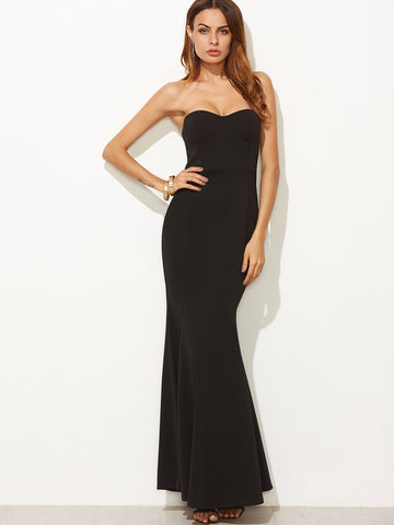 Black Fishtail Sleeveless Bandeau Dress