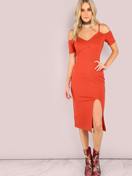 Orange Short Sleeve Cold Shoulder Bodycon Front Slit Dress