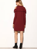 Burgundy Cold Shoulder Shift Dress - Crystalline