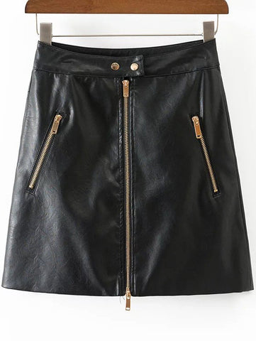 Black A Line PU Skirt