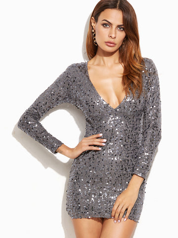 Sequin Deep V Neck Long Sleeve Bodycon Dress - Crystalline