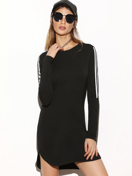 Black Striped Sleeve Bodycon Dress