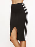 Black Side Stripe Pencil Skirt