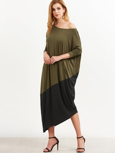 Black and Green Asymmetric Cocoon Dress