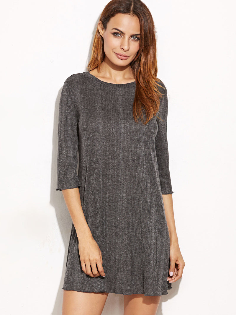 Grey Ribbed Knit Tee Dress
