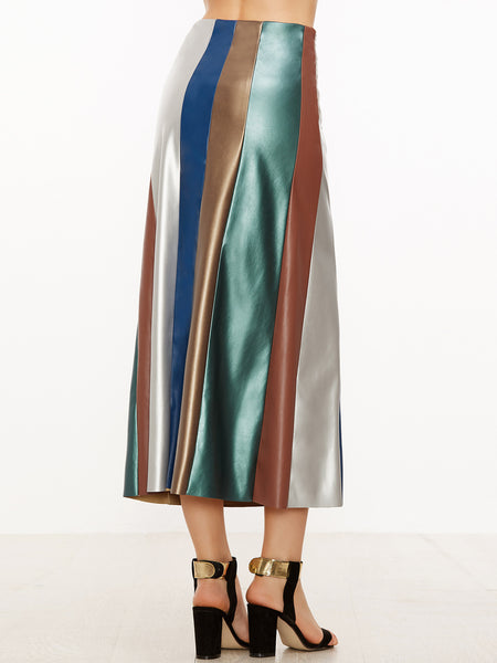 Multicolor Faux Leather Skirt