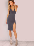 Grey Spaghetti Strap Front Slit Dress