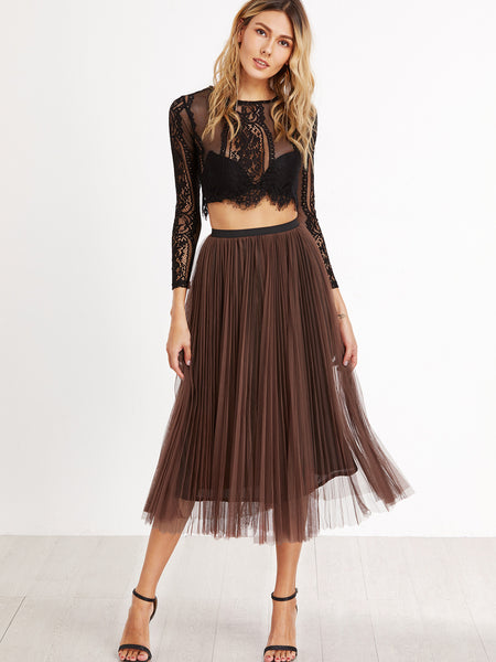 Camel Mesh Pleated Skirt