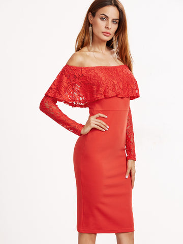 Orange Ruffle and Sleeve Off Shoulder Dress - Crystalline