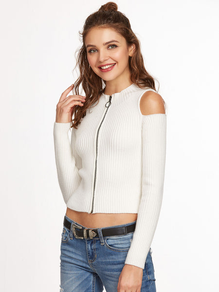 White Knit Zip Up Sweater