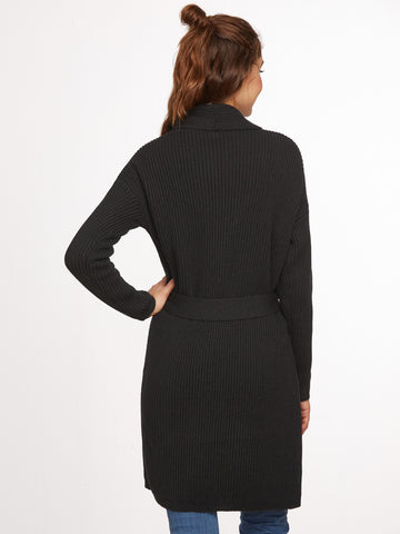Black Knit Collar Wrap Sweater