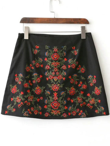 Black Floral Embroidery Skirt