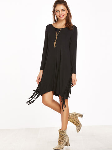 Black Fringe Dress - Crystalline