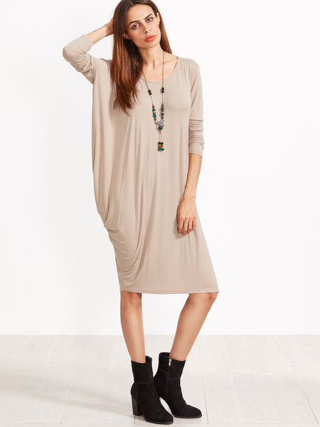 Khaki Scallop Neck Tee Dress - Crystalline