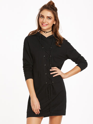 Black Eyelet Hooded Sweatshirt Dress - Crystalline