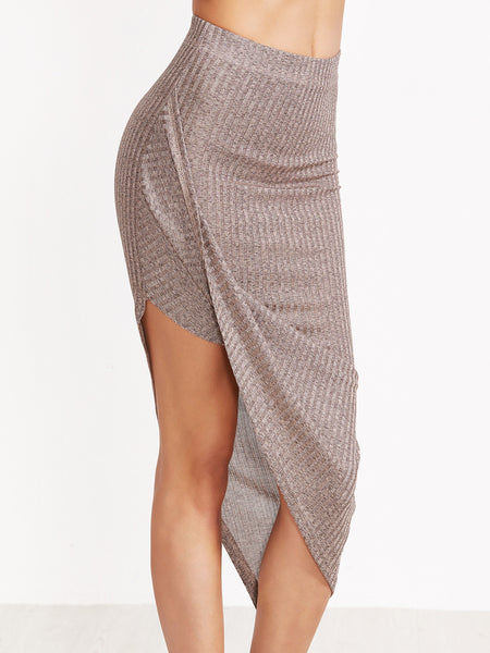Coffee Ribbed Knit Draped Skirt