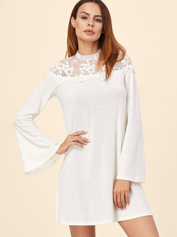 White Mesh Yoke Bell A Line Dress - Crystalline